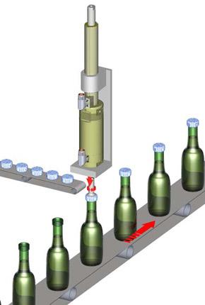 Tapado de botellas mediante actuadores rotolineales