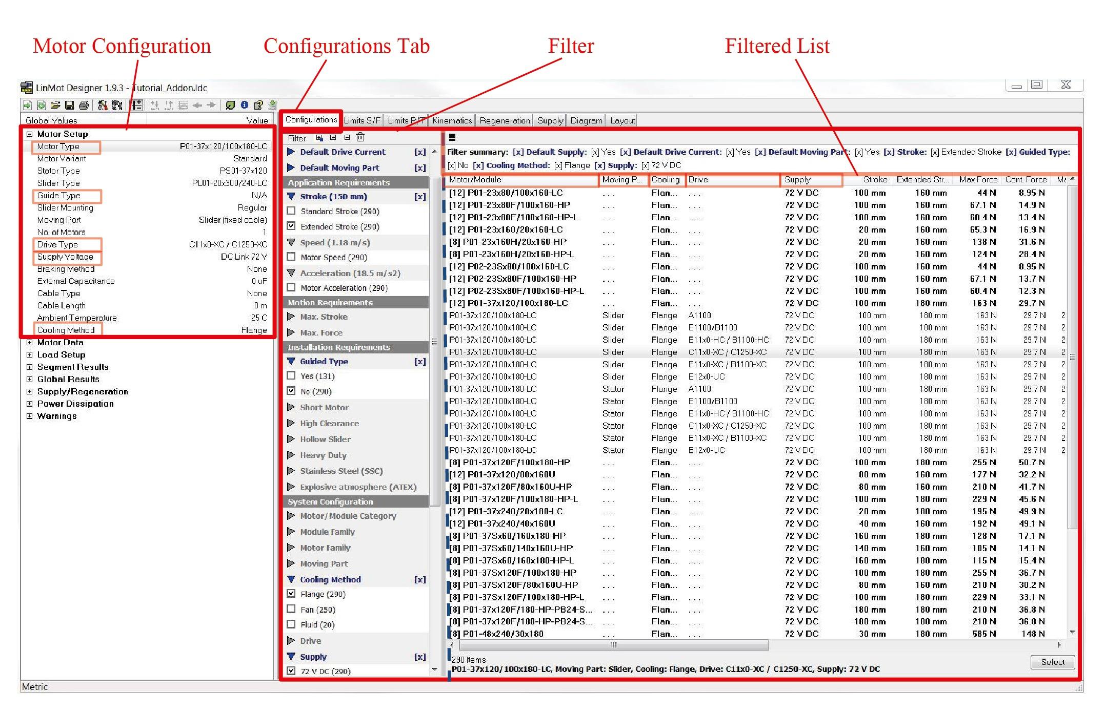 Layout del software LinMot Designer con filtros para su fácil uso