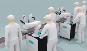 Robot kawasaki-duAro colabora con los trabajadores