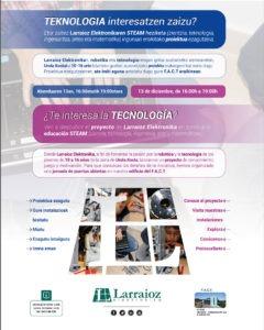 Cartel Open day proyecto STEAM de Larraioz Elektronika