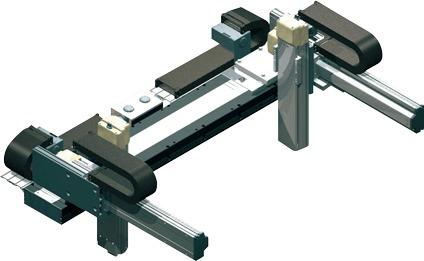 Robots cartesianos de 6 ejes 2X2Y2Z en cantilever, eje X doble deslizadera, ejes Y sobre su base, ejes Z sobre su base