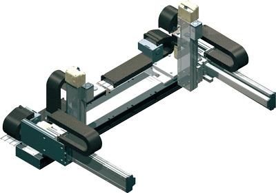 Robots cartesianos de 6 ejes 2X2Y2Z en cantilever, eje X doble deslizadera, ejes Y sobre su base, ejes Z sobre su deslizadera