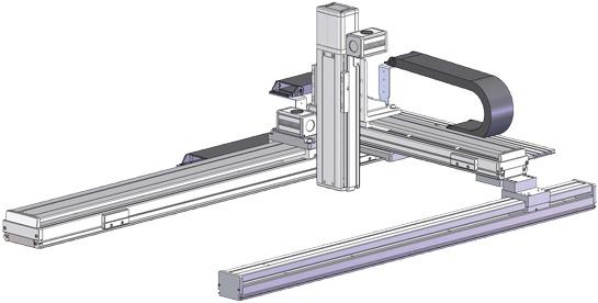 Robots cartesianos de 3 ejes XYZ en Gantry, eje Y ensamblado horizontalmente, eje Z sobre su base