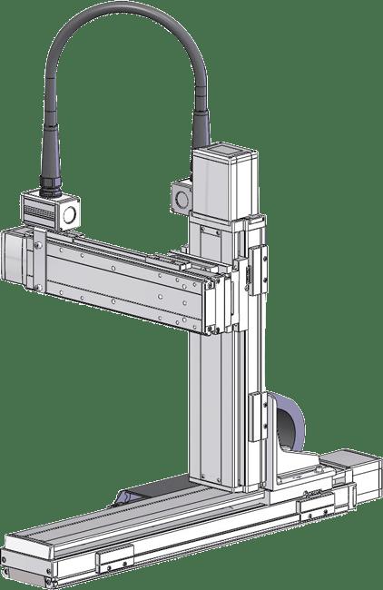 Robots cartesianos de 3 ejes XYZ en cantilever, eje Z sobre su lateral de base, eje Y sobre su deslizadera ICSB3
