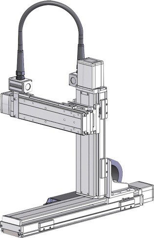 Robots cartesianos de 3 ejes XYZ en cantilever, eje Z sobre su lateral de base, eje Y sobre su deslizadera