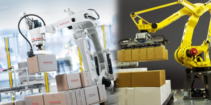 robot fanuc y Kawasaki paletizando