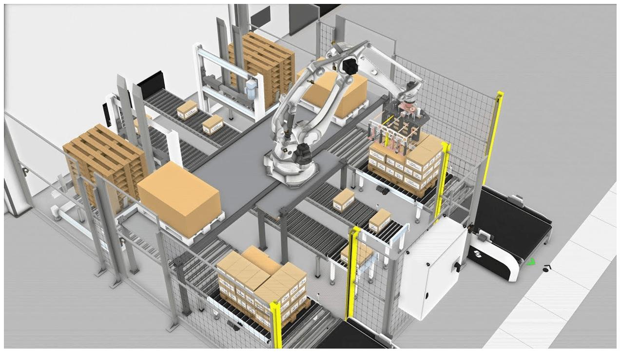 imagen 3d de robot kawasaki paletizando